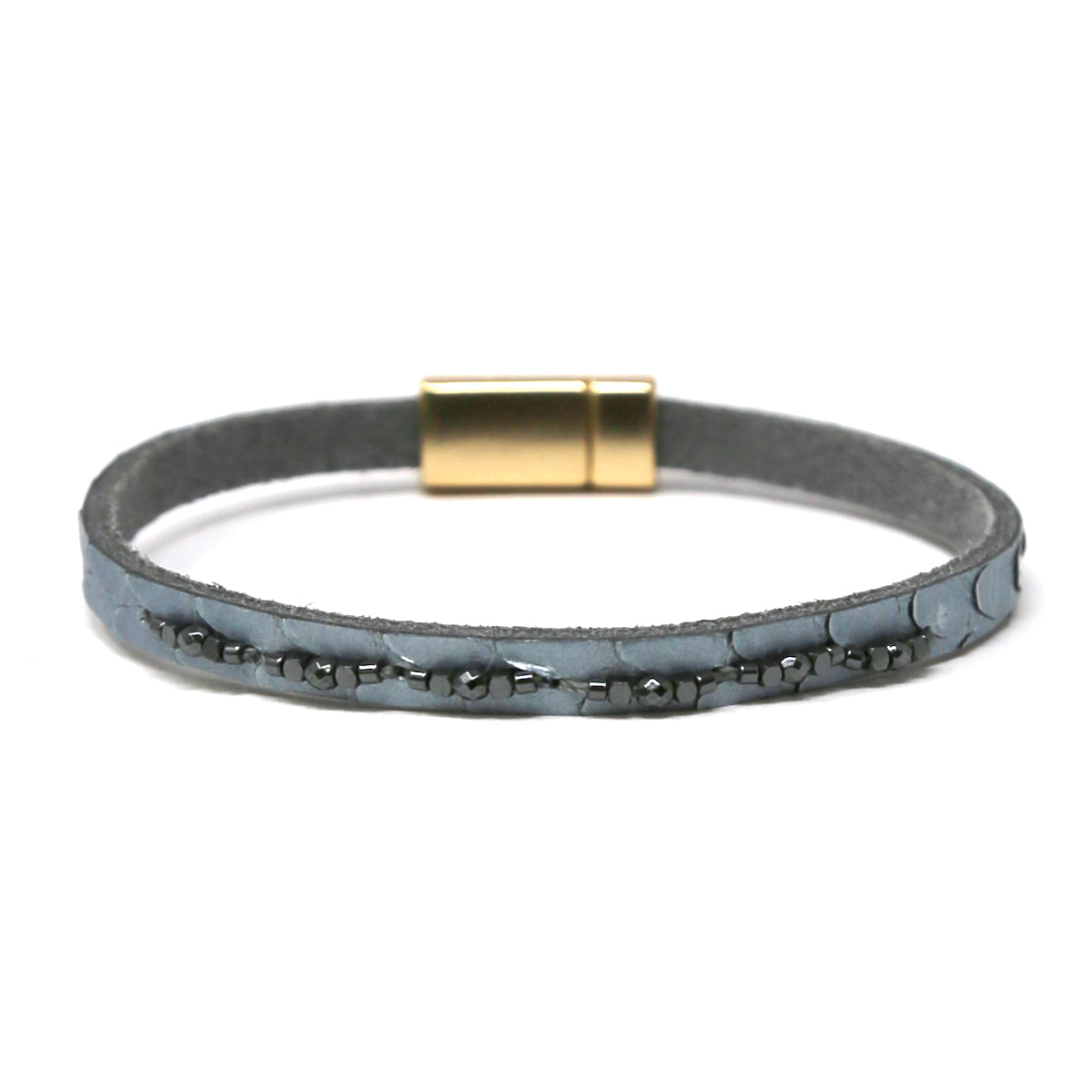 Stone Embellished Snake Skin Print Genuine Leather Bracelet