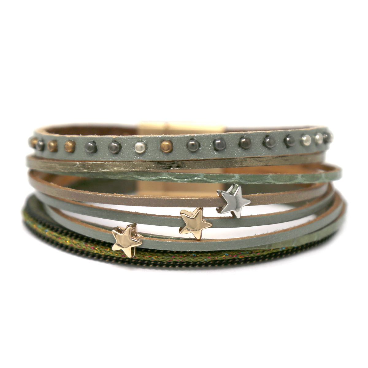 Star Metal Bead Multi Textured Genuine Leather Bracelet