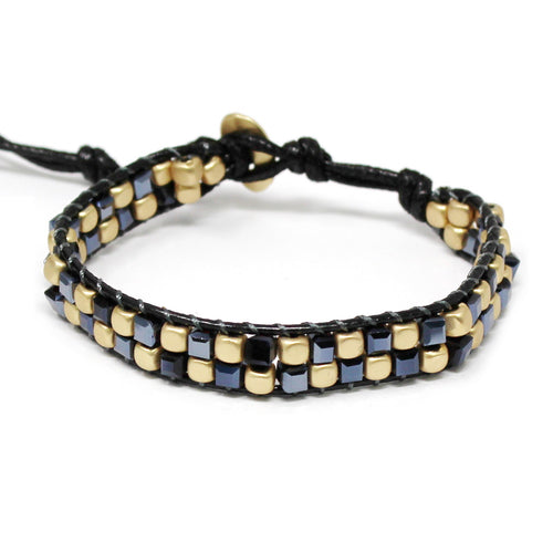 Glass And Metal Cube Beaded Bracelet