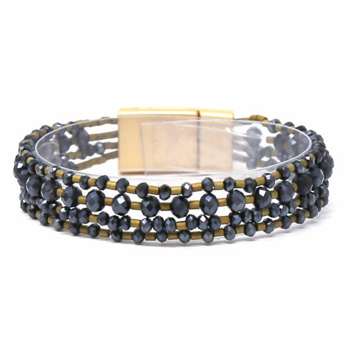 Glass Beaded Multi Strand Magnetic Bracelet