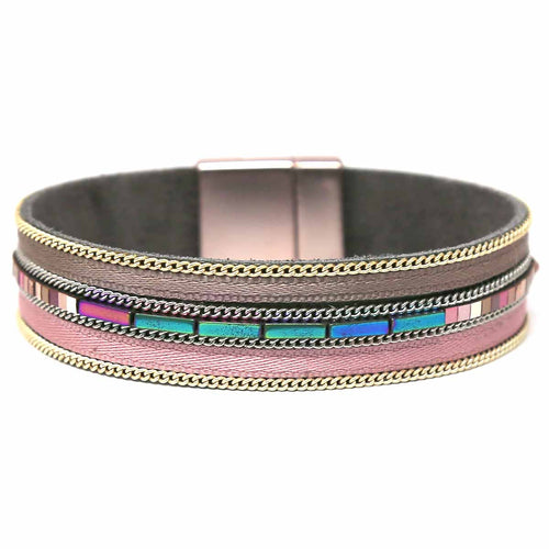 Chain/ Metal Bead/ Rhinestone Embellished Genuine Leather Magnetic Bracelet