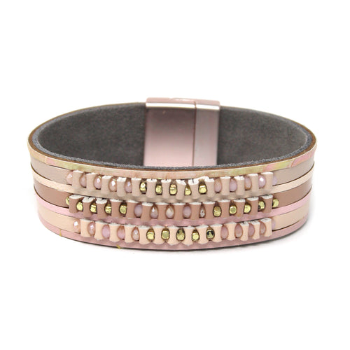 Glass Bead Embellished Genuine Leather Magnetic Bracelet