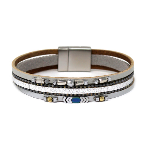 Metal Bead Embellished Genuine Leather Magnetic Bracelet