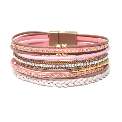 Rhinestone Pave Multi Faux Leather Magnetic Bracelet