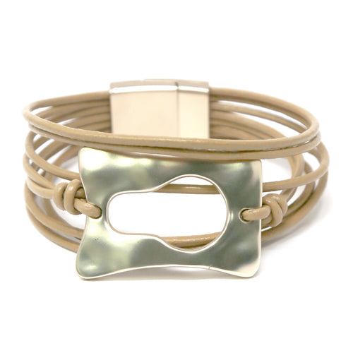 Hammered Texture Metal Multi Layer Faux leather Bracelet