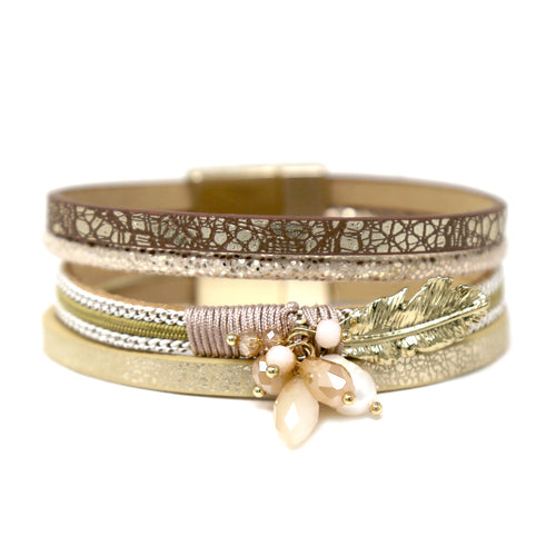 Glass Stone Freshwater Pearl Metal Leaf Embellished Glitter Faux Leather Bracelet