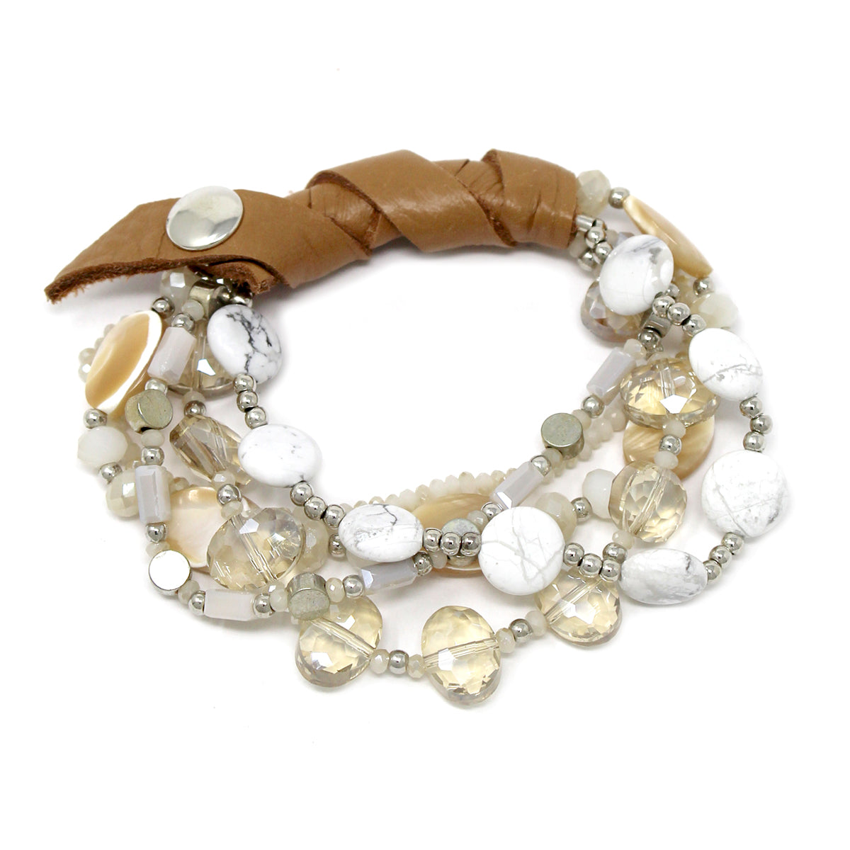 Genuine Leather Wrapped Natural Stone/ Glass/ Shell Beaded Stretch Bracelet