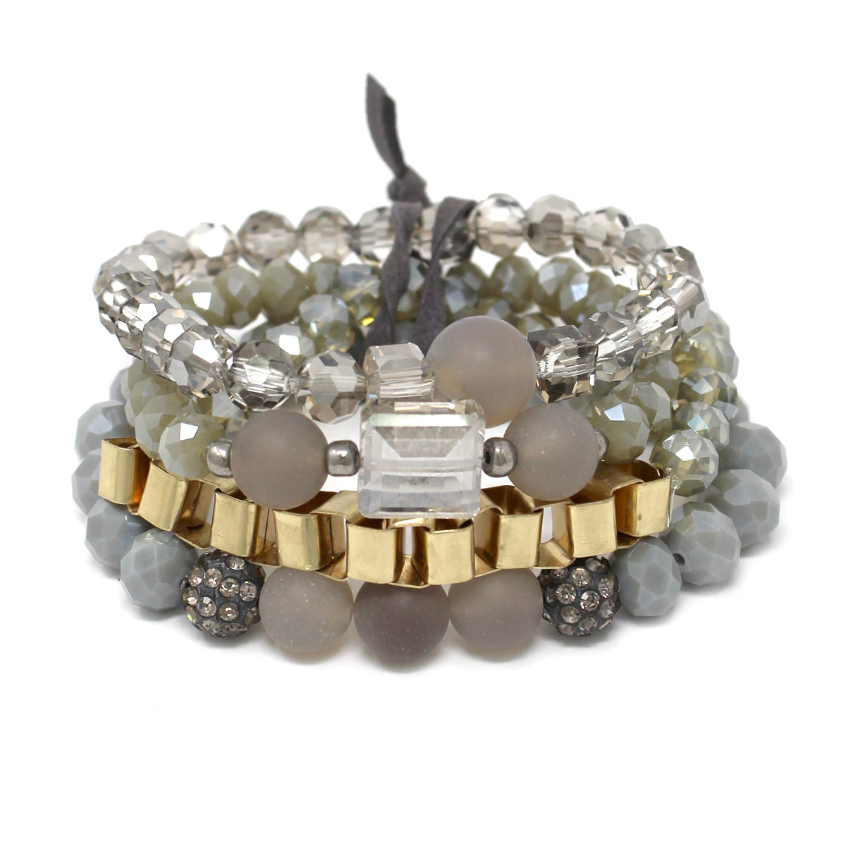 Natural Stone & Chain Glass Beaded Multi Stretch Bracelet