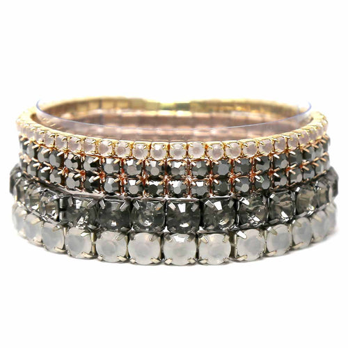 Faceted Stone Pave Stretch Multi Bracelet