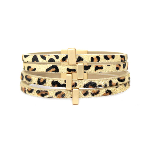 Leopard Print Faux Leather With Metal Multi Strand Magnetic Bracelet