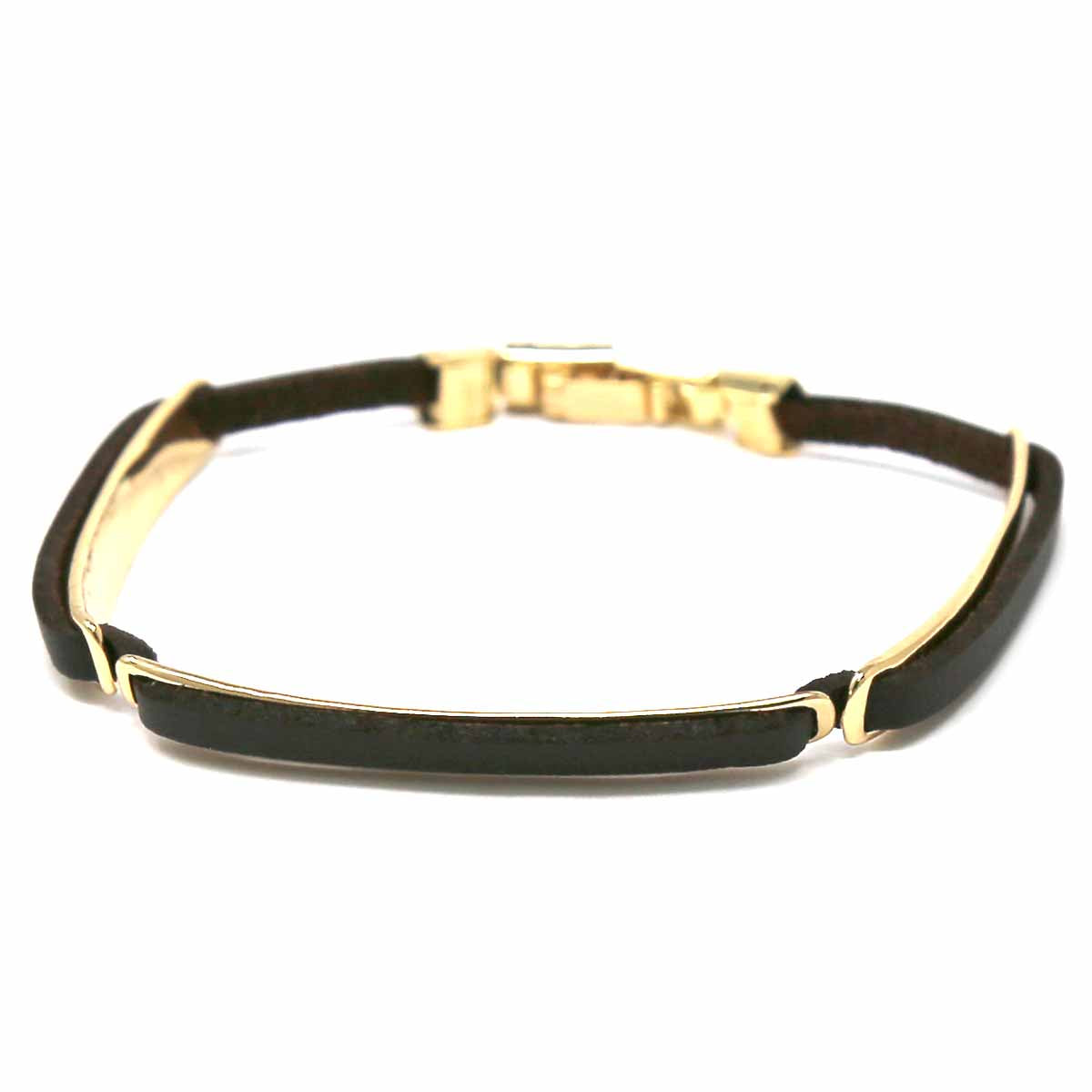 Metal Bar Faux Leather Linked Thin Bracelet