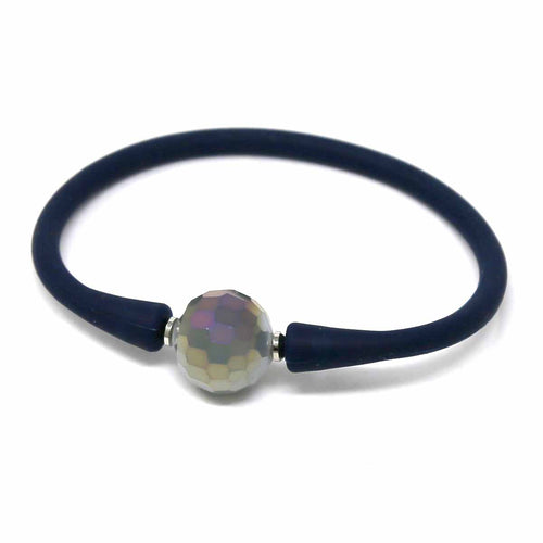 Glass Stone Ball Rubber Bracelet