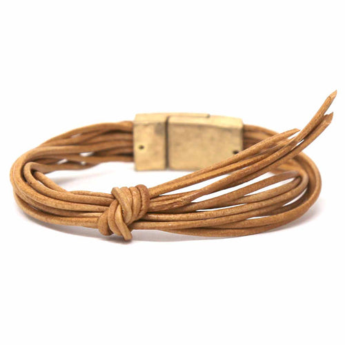 Faux Leather Cord Knot Detail Magnetic Bracelet