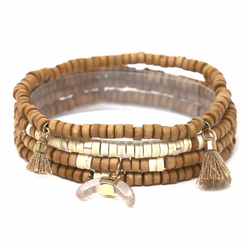 Natural Stone Horn Tassel Charm Wood Beaded Stretch Multi Bracelet