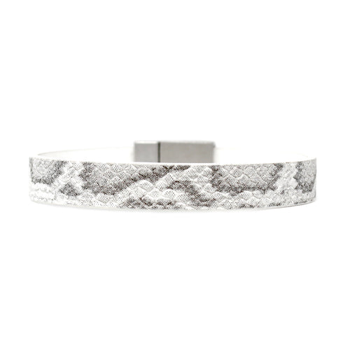 Snake Skin Print Faux Leather Magnetic Bracelet