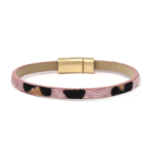 Animal Print Faux Fur Skinny Magnetic Bracelet