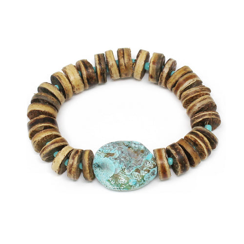Cork Beaded Stretch Bracelet With Natural Stone