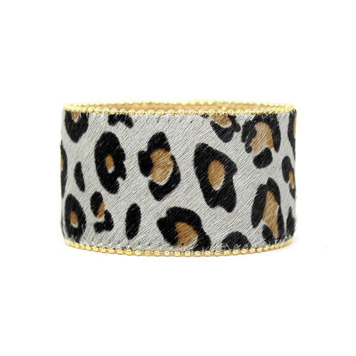Ball Chain Trimmed Leopard Print Genuine Leather Wide Bracelet