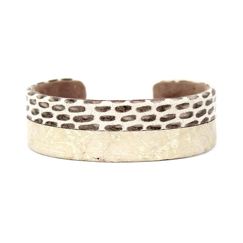 Genuine Leather With Metallic Print Cuff Bracelet