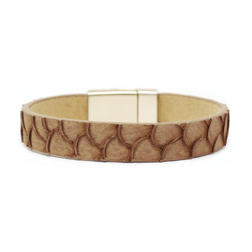 Fish/Snake Skin Leather Magnetic Bracelet