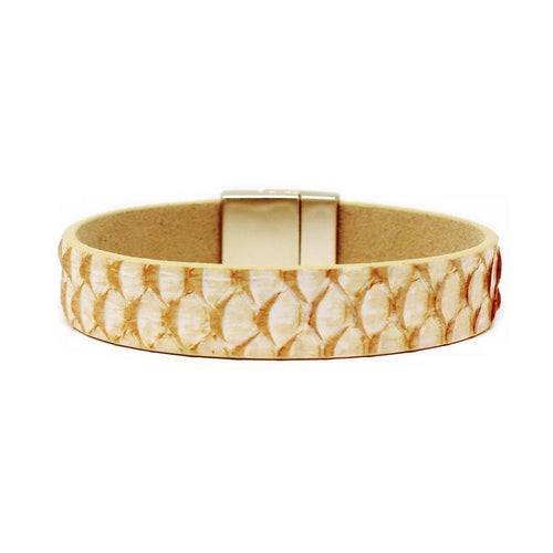 Fish Skin Leather Magnetic Bracelet