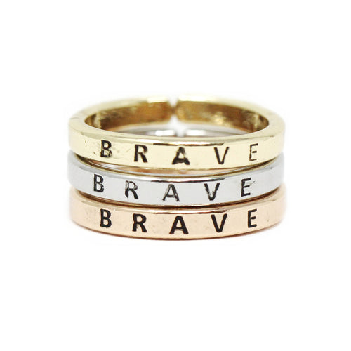 BRAVE Inspirational Tri Tone Ring Set