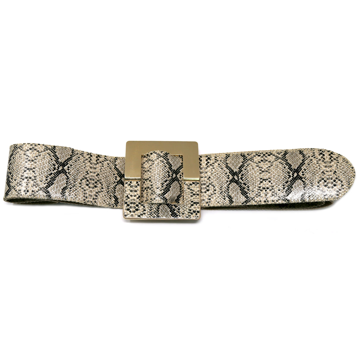 Snake Skin Print Faux Leather Square Buckle Belt