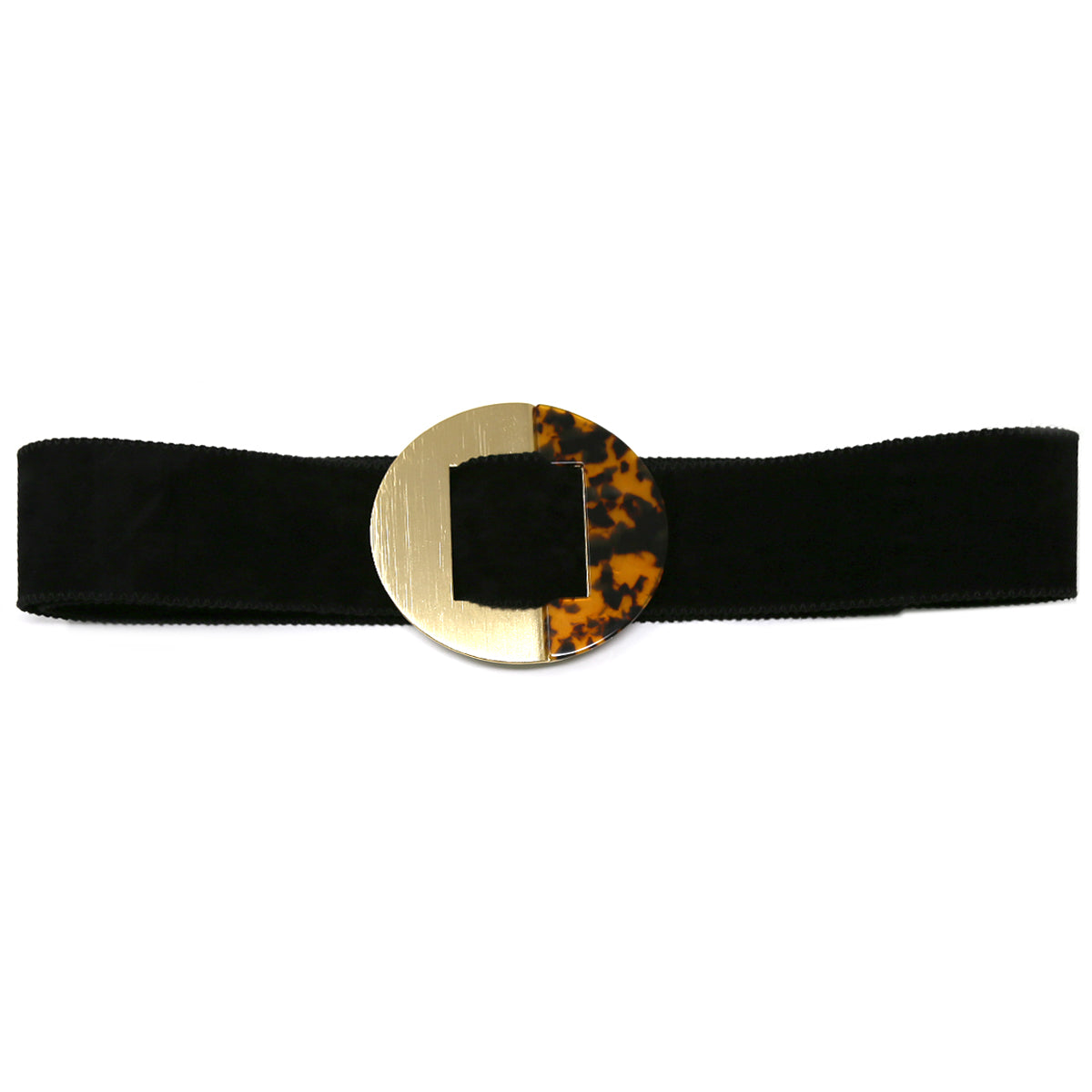 Acetate Embellished Metal Circle Buckle Faux Leather Belt