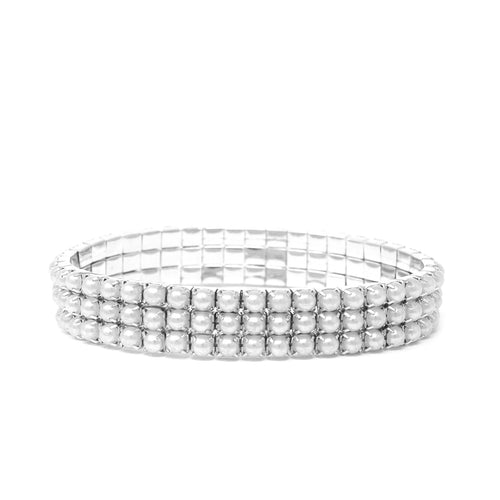 3 Row Pearl Bead Pave Stretch Bracelet