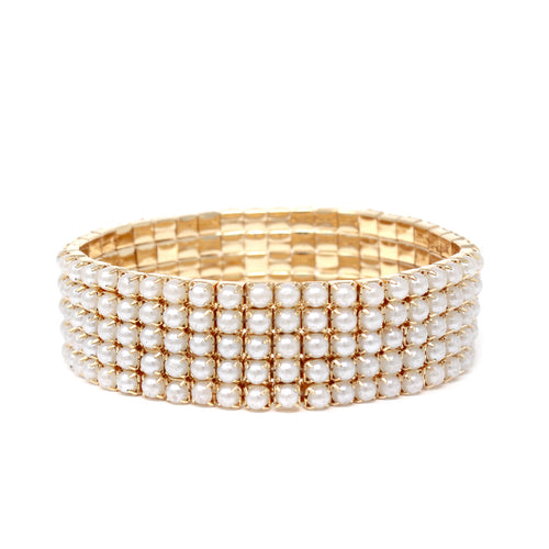 5 Row Pearl Bead Pave Stretch Bracelet