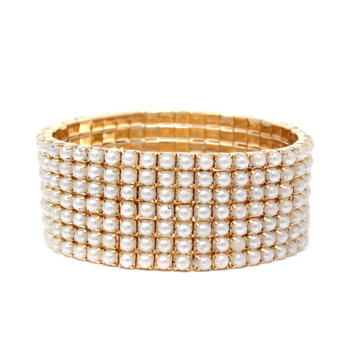7 Row Pearl Bead Pave Stretch Bracelet