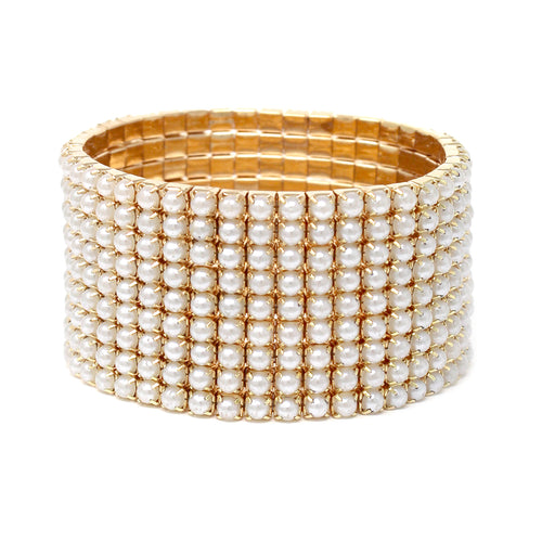 9 Row Pearl Bead Pave Stretch Bracelet