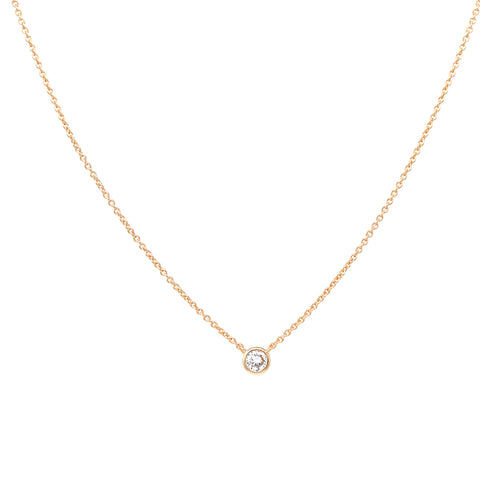 Gold Dipped Cubic Zirconia Pendant Short Necklace