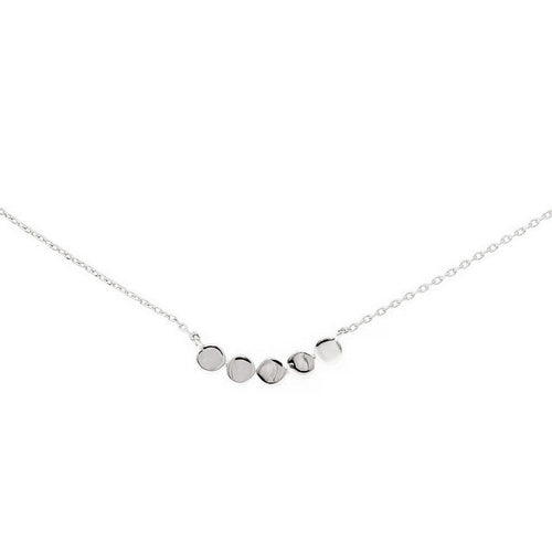 Hand Pressed Mini Disc Bar Collar Chain Necklace