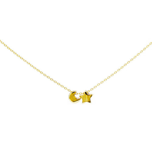 Sliding Moon And Star Charm Collar Chain Necklace