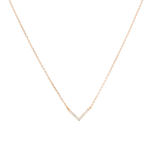 Gold Dipped Cubic Zirconia Chevron Pendant Short Necklace