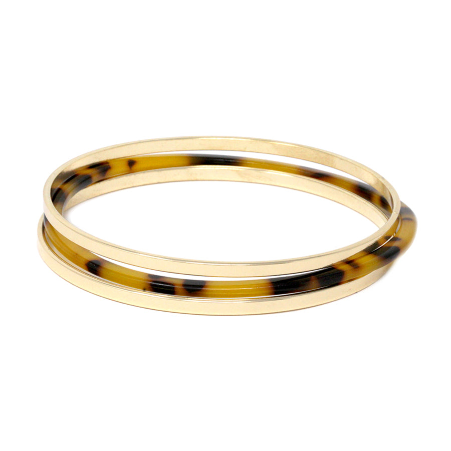 Flat Metal And Acetate Triple Bangle Bracelets