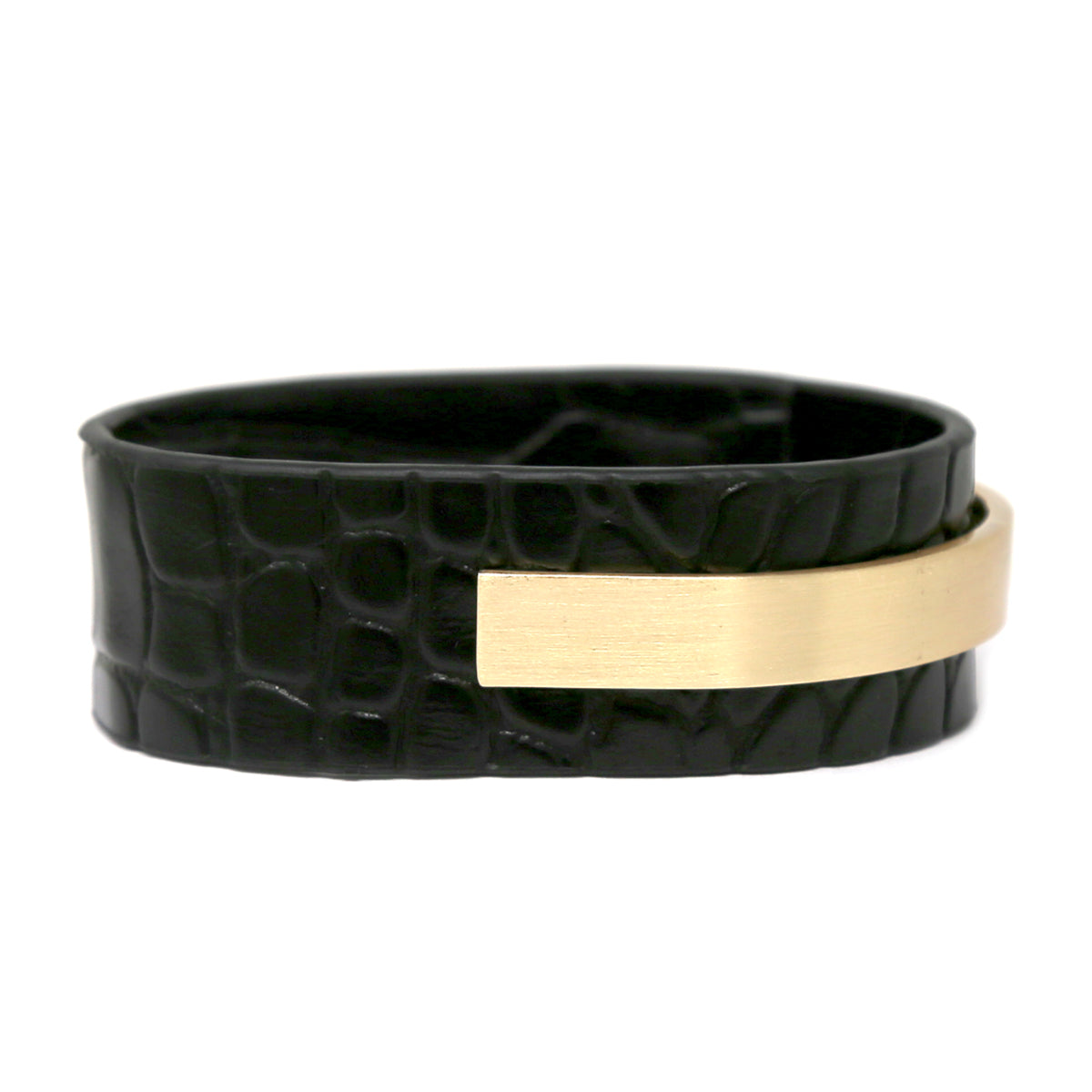 Metal Bar Animal Print Faux leather Bracelet