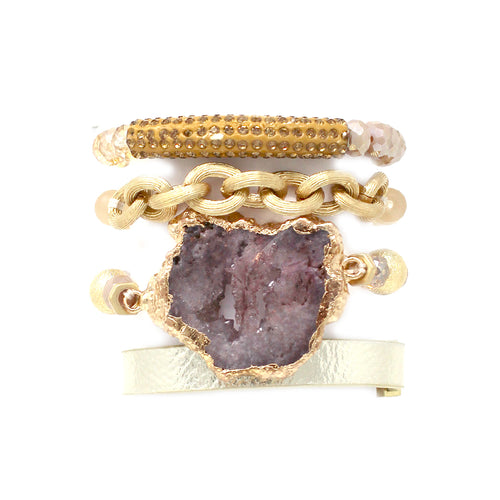 Druzy Stone/ Paved Tube Bar With Glass Beaded Stretch Bracelet And Faux Leather Magnetic Bracelet