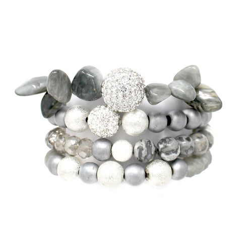 Paved Ball With Natural Stone/ Glass Stone Beaded Multi Stretch Bracelet