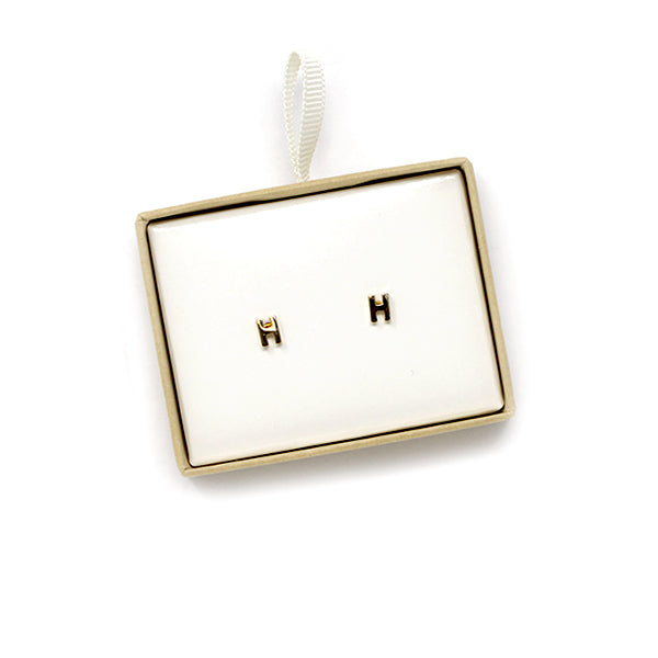 H Initial Stud Earrings