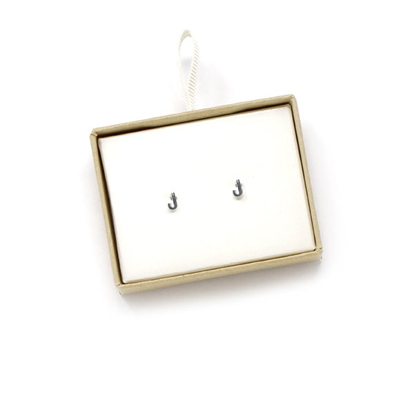 J Initial Stud Earrings
