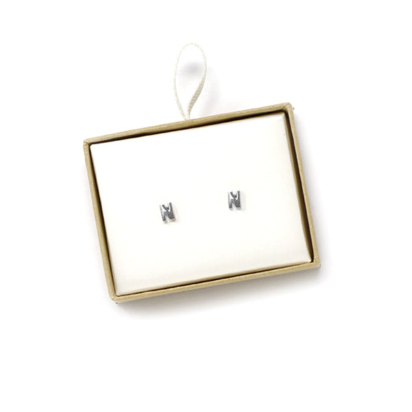 N Initial Stud Earrings