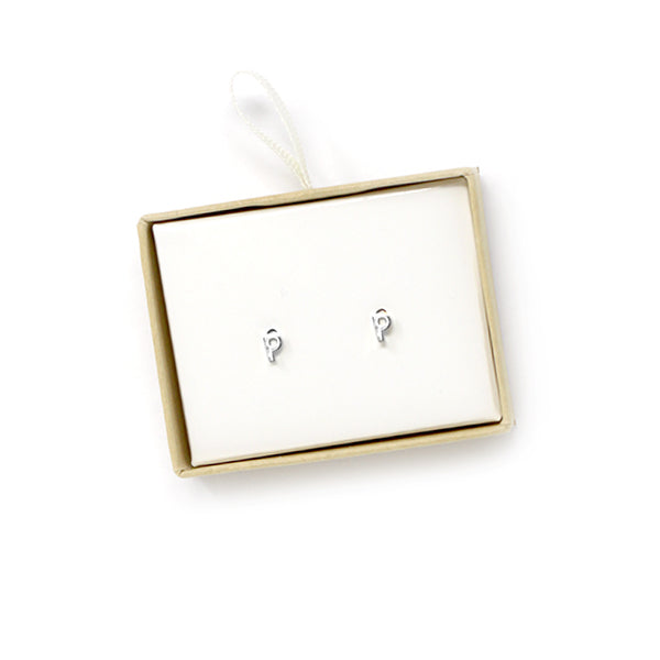 P Initial Stud Earrings