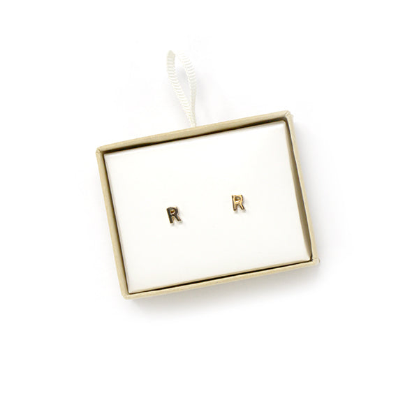 R Initial Stud Earrings