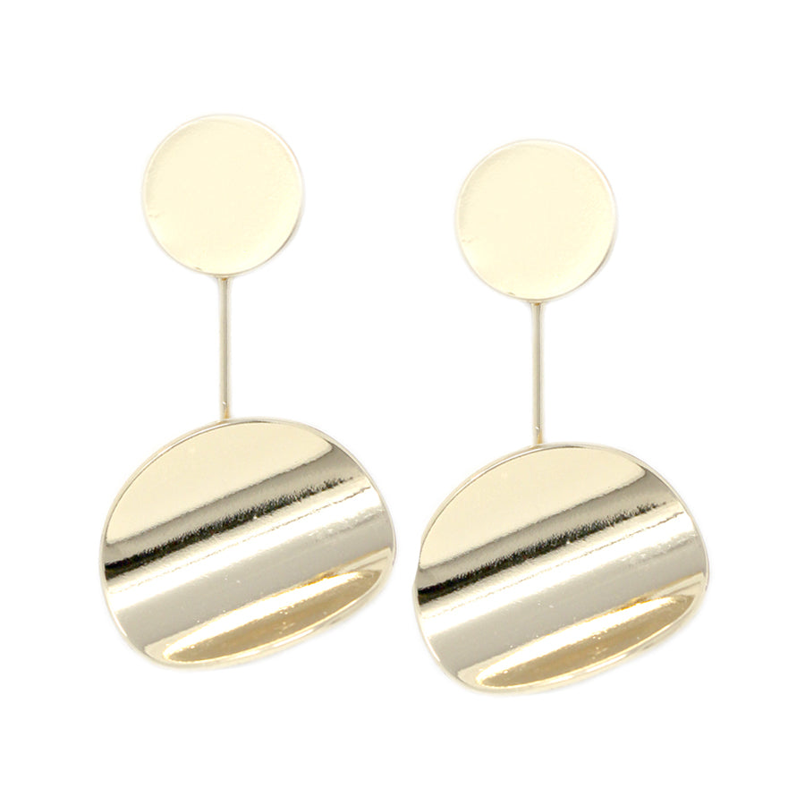 Curved Metal Disc Drop Earrings