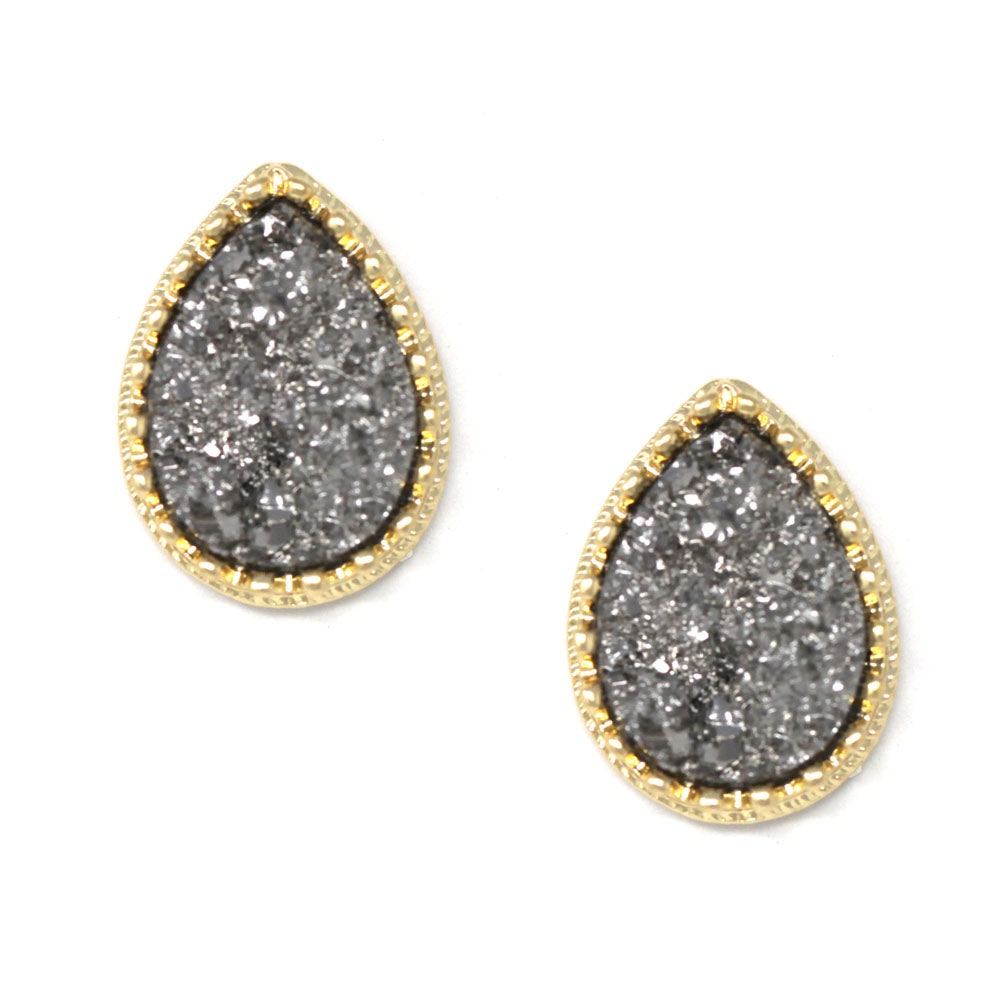 Metal Framed Druzy Teardrop Stud Earrings