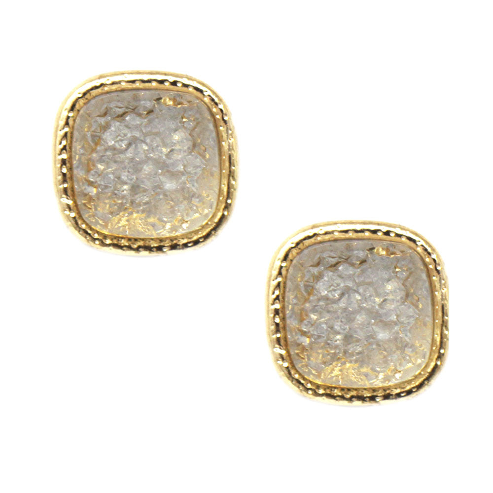 Mini Square Druzy Stone Stud Earrings
