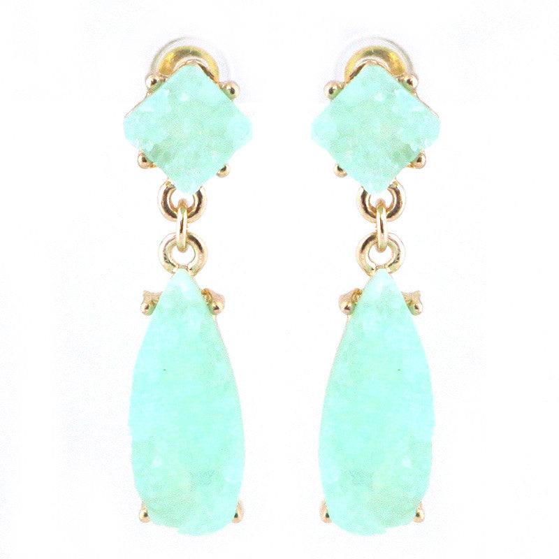 Double Druzy Linked Earrings