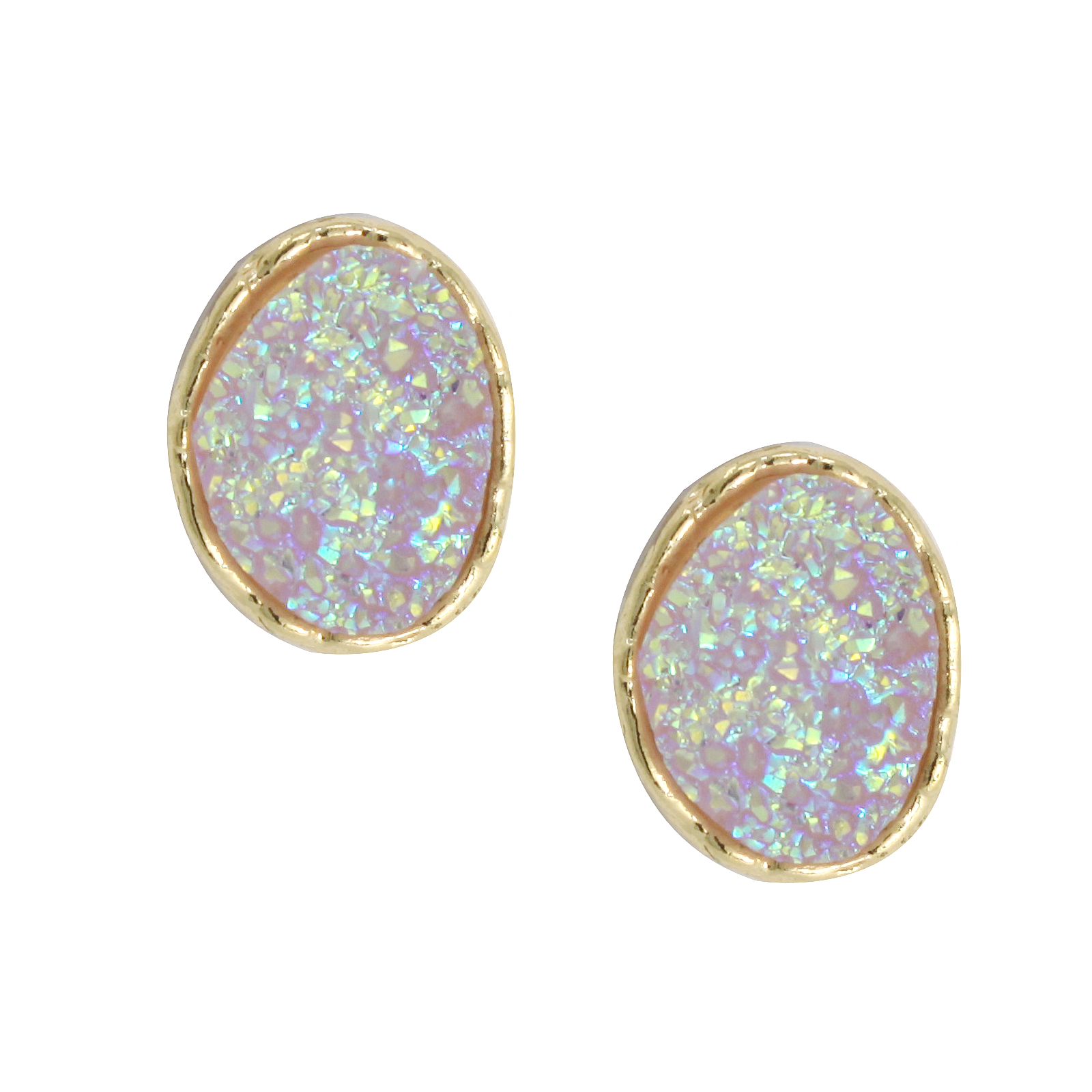 Aurora Borealis Druzy Mini Oval Stud Earrings